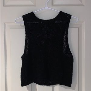 American Apparel Black Mesh Crop Top